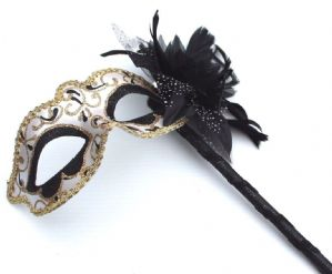 Black and Gold Mask - Mask on Stick | Masks and Tiaras